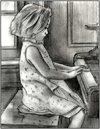 Young girl playing the piano moved by Bennett piano service.